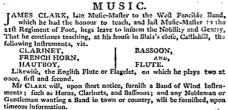 A copy of the advert placed in the Caledonian Mercury by James Clark