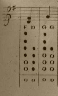 Two chords from a fingering chart.