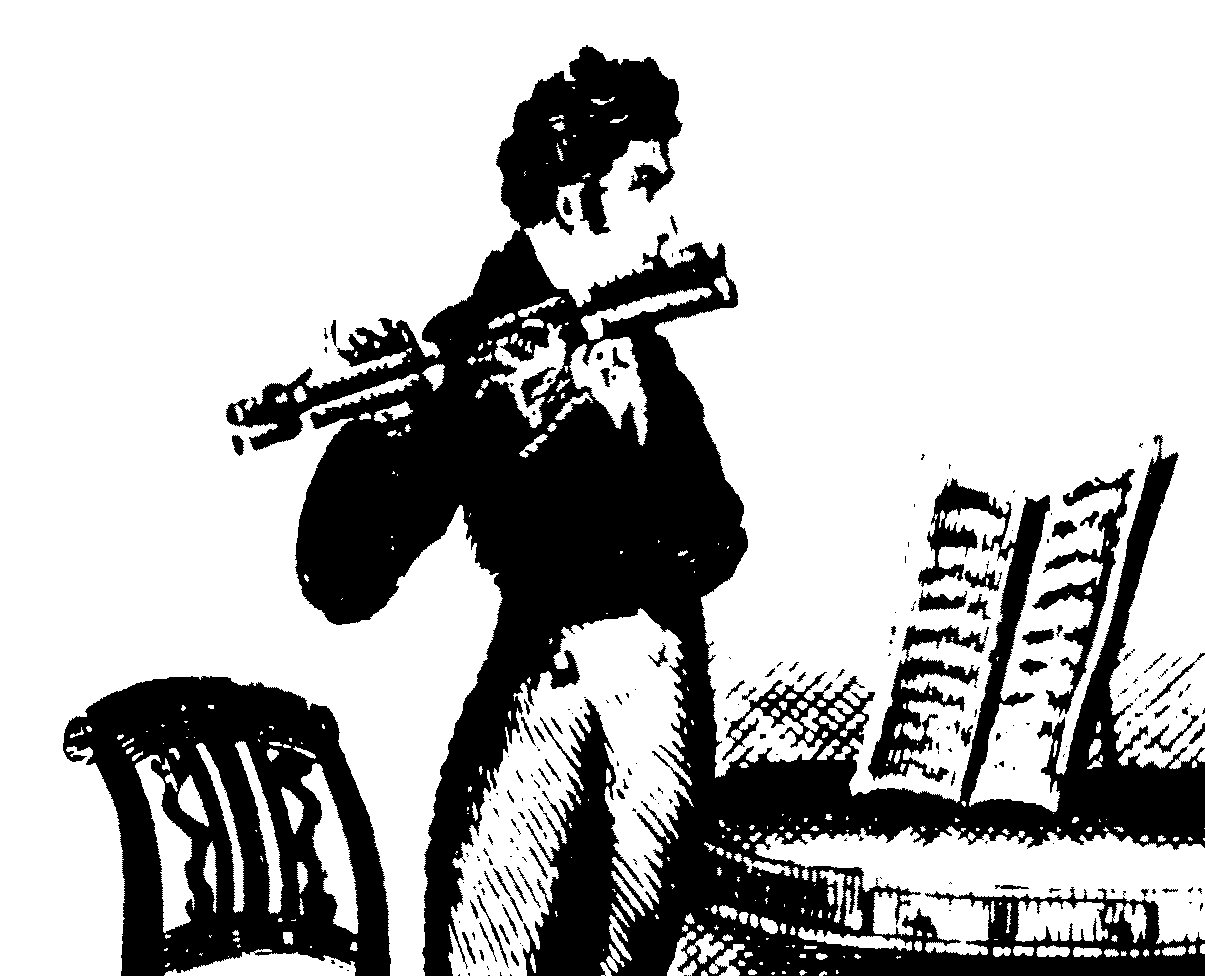 A line drawing of a standing man playing a double flute flageolet.