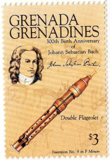 A postage stamp from Grenada showing a double flageolet and a portrait of J.S. Bach.
