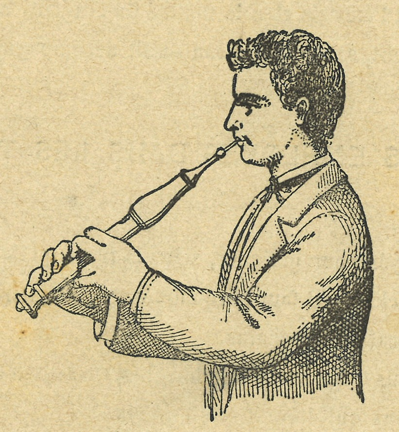 An engraving of a man playing the flageolet, showing the position of his fingers.