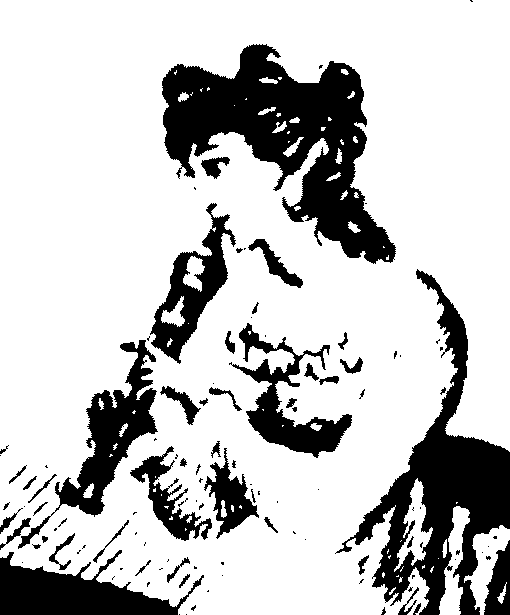 A line drawing of a sitting woman playing a double flageolet.