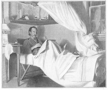 An engraving after a photograph of Robert Louis Stevenson sitting up in bed, playing the English flageolet.