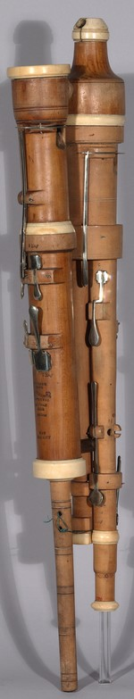 A photograph of the rear of a triple flageolet by Henry Hasktrick.