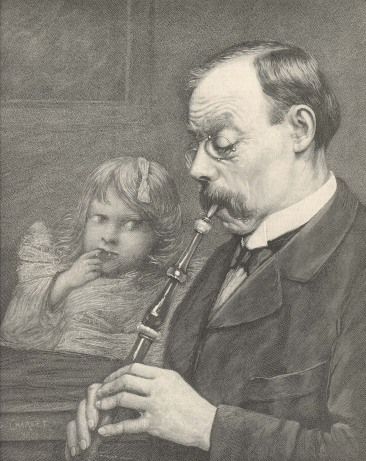 An engraving after a pastel by Georges Charlet of a man playing a French flageolet, with a young girl in the background.
