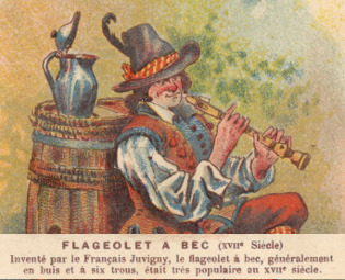 A scan of a 19th Century Chocolate Card showing a rustic man playing a recorder with a caption.