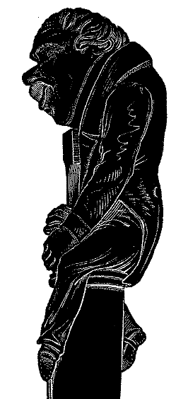 Wood block print of a caricature-sculpture of Collinet sitting on top of a flageolet