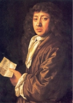 A photograph of a portrait of Samuel Pepys.