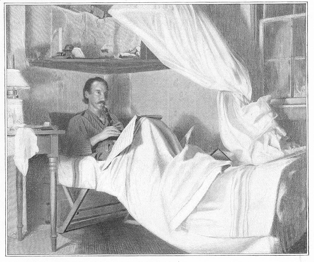 Engraving after a photograph of Robert Louis Stevenson lying in bed and playing the English flageolet