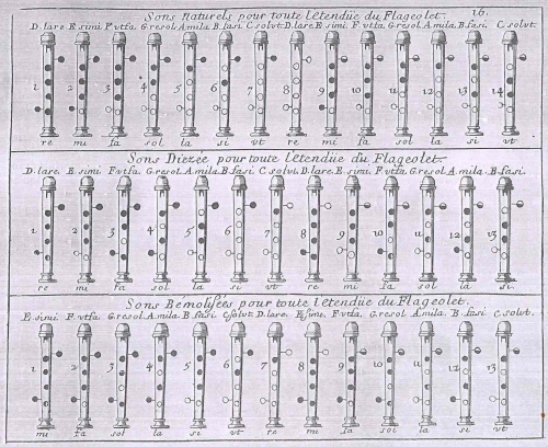 "The fingering chart from Frellion-Poncein's ""La Veritable Maniere"""