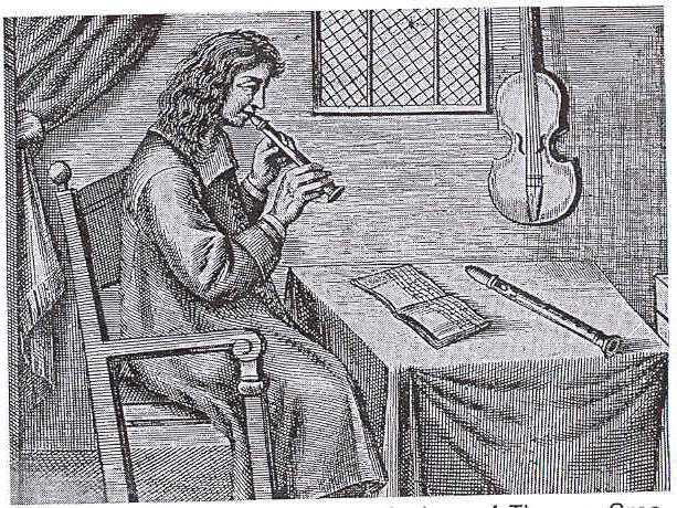 A line drawing of a French flageolet player
